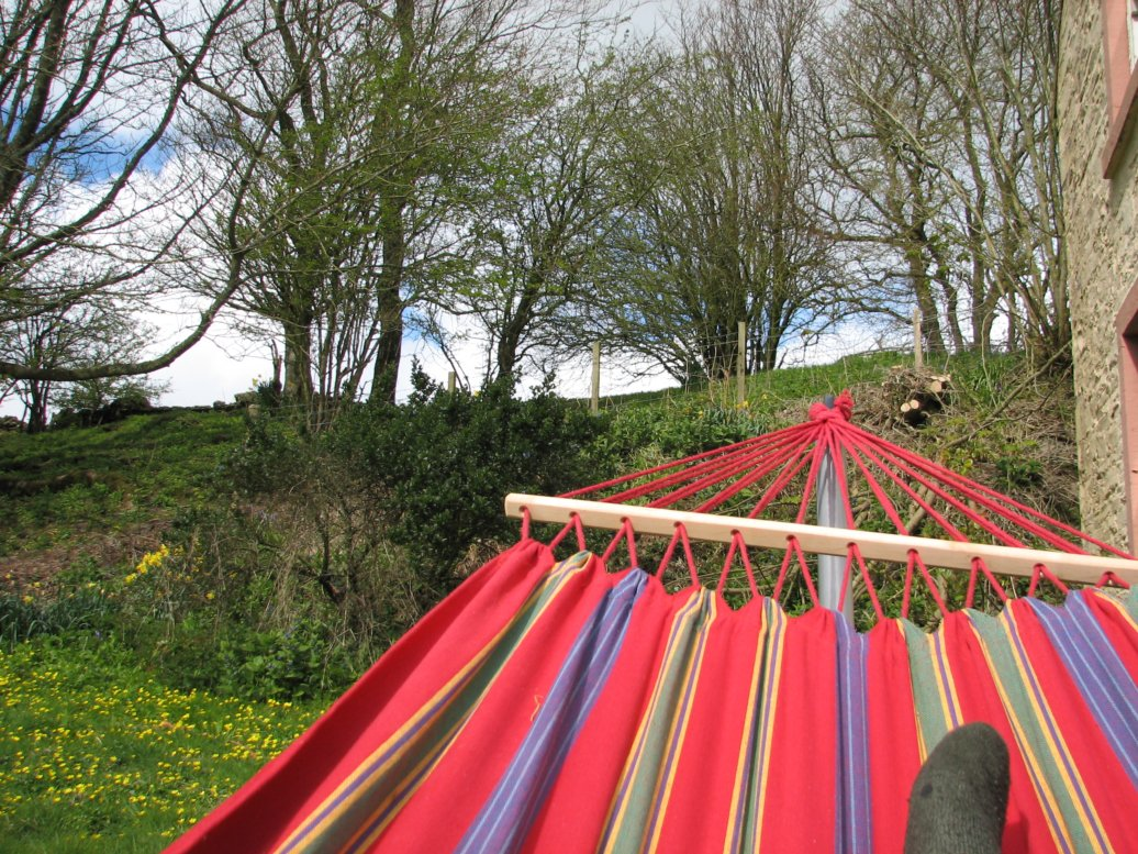 Hammock + book + cushion + rug = perfect reading location in the cool of April but when the sun was out and shining