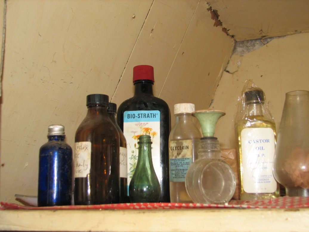 ...and is the home of the random bottles and bits we've found in the house...
