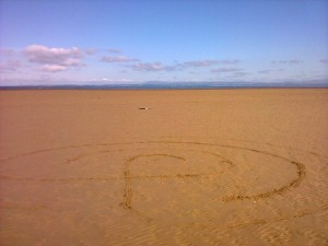 Labyrinth on Morecambe beach, between the Battery and the Midland
