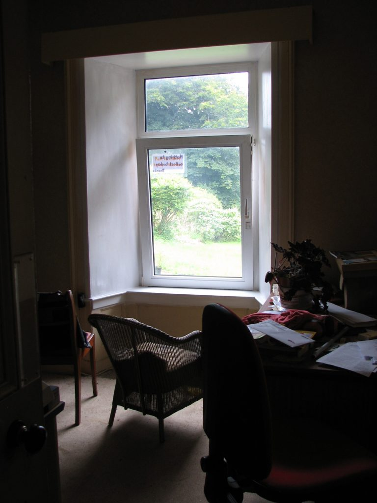 The office window - painted but without curtains. While I was away in Morecambe Chris proposed a re-allocation of room use which somehow turned into a 4-room shuffle when I got involved. There was a period when I was really on it, painting window surrounds, making curtains and moving furniture...