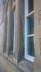 Amazing weathered sandstone in Morecambe (the old train station)